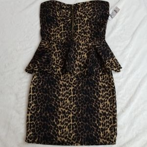 Leopard bodycon strapless dress